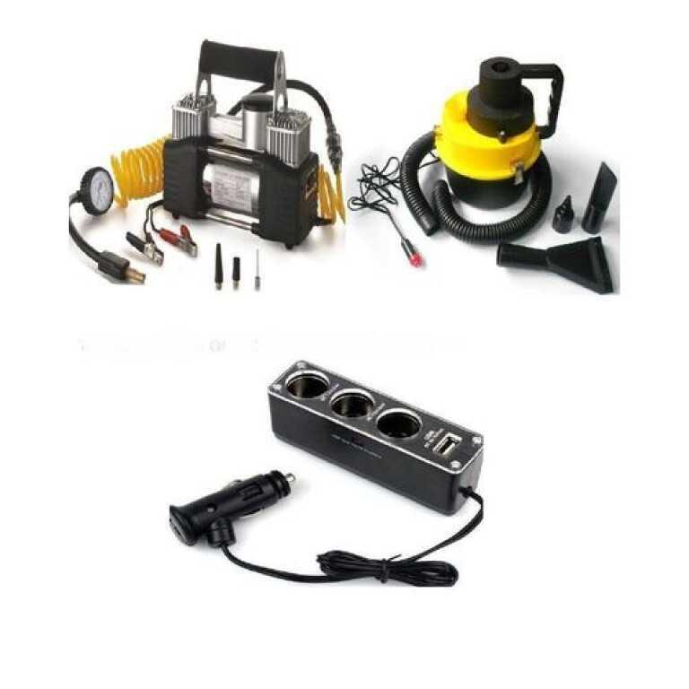 As Seen On Tv Car Air Compressor - 2 Cylinder + Wet &Amp; Dry Canister Car Vacuum Cleaner + Car Cigarette Lighter 3 Socket Splitter With Usb Outputكمبروسر هواء للسيارة 2 بستم