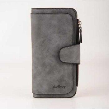 محفظة جلد شمواه ( رمادي ) - للأموال & الكروت