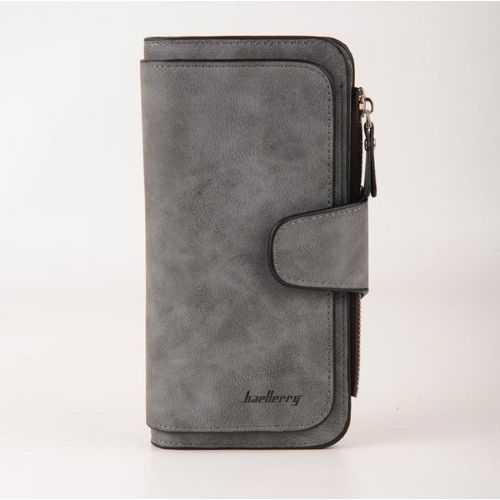 محفظة جلد شمواه ( رمادي ) - للأموال &Amp; الكروت
