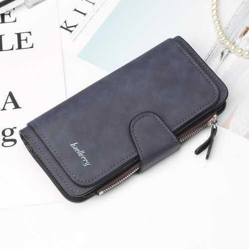 محفظة جلد شمواه للنساء ( كحلي ) - للأموال &Amp; الكروت