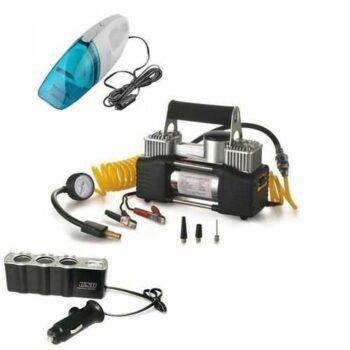 Car Air Compressor - 2 Cylinder + Car Vacuum Cleaner + USB Power Supply - 3 Sockets