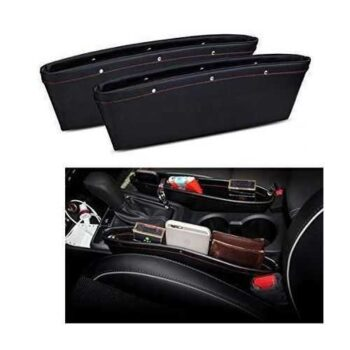 مواصفات منظم سيارة بو الجلدي 2X Pu Leather Car Auto Seat Slit Pocket Holder Storage Box Bag Pouch Organizer