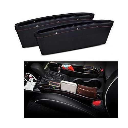 مواصفات منظم سيارة بو الجلدي 2X Pu Leather Car Auto Seat Slit Pocket Holder Storage Box Bag Pouch Organizer