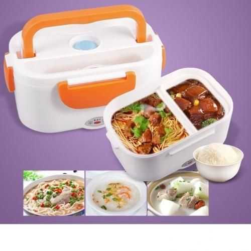 Generic Portable Double Layer Electric Heating Lunch Box - 1Pcs