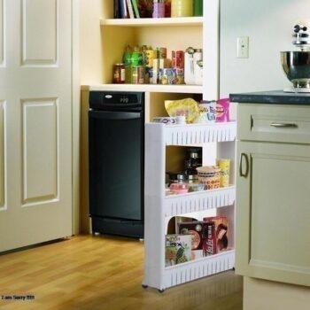 تروللى تخزين بعجلات للمطبخ او الحمام 3 دور