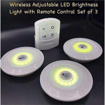 مجموعة من 3 أضواء السطوع الصمام قابل للتعديل لاسلكية مع جهاز التحكم عن بعد
