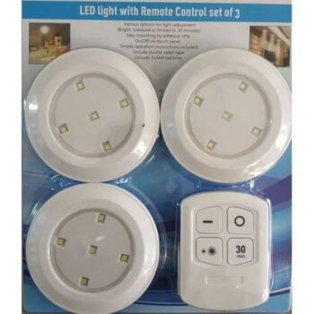 LED Spotlight Circular With Battery And Remote Control - 3 Pcs